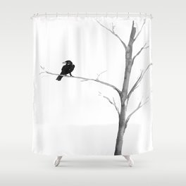 Raven in a Tree Shower Curtain