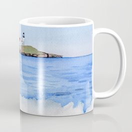 Ocean waves with Lighthouse Watercolor Art Coffee Mug
