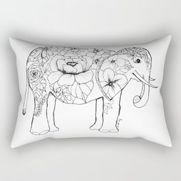 Elephant Full of Florals Rectangular Pillow