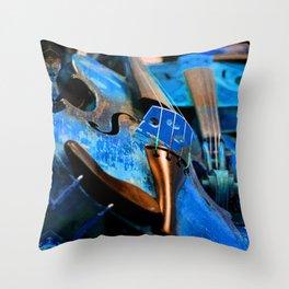 Blue Violin Throw Pillow