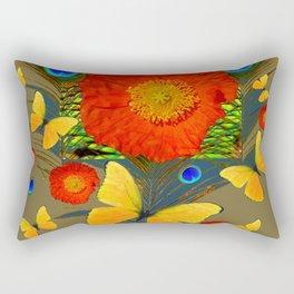 ORANGE POPPY FLOWER & BUTTERFLIES PEACOCK PATTERNS Rectangular Pillow