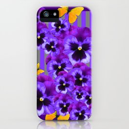 DECORATIVE GOLDEN YELLOW BUTTERFLIES PURPLE PANSY PILLOW ART iPhone Case