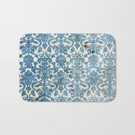 Vintage Antique Blue Wallpaper Pattern Bath Mat