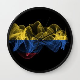 Colombia Smoke Flag on Black Background, Colombia flag Wall Clock