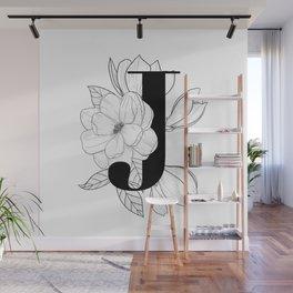 Monogram Letter J with Magnolia Line Art Wall Mural