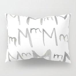Watercolor M's - Grey Gray Pillow Sham