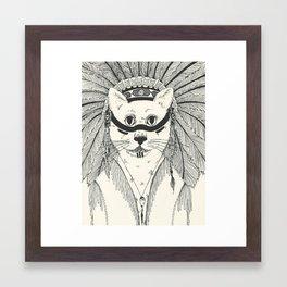 Tribal Cat Framed Art Print