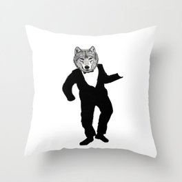 Dancing Wolf Throw Pillow
