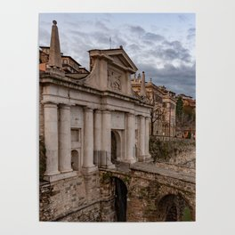 Side view of Porta San Giacomo and the walls of the upper city of Bergamo Poster