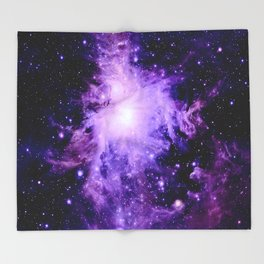 Orion nebUla. : Purple Galaxy Throw Blanket