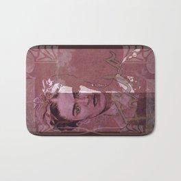 Frida Kahlo - between worlds - red Bath Mat