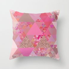 Triangles in glittering pink- glitter triangle pattern Throw Pillow