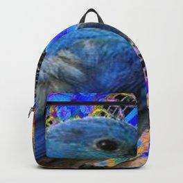 DECORATIVE BLUE BIRD IN GOLDEN ART Backpack