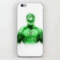 green lantern iPhone & iPod Skins featuring Green Lantern by KitschyPopShop