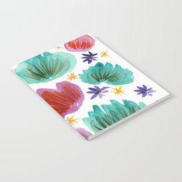 Teal and Pink Watercolor Pattern Notebook