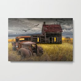 The Death of the Small American Farm with Abandoned Truck and Farm House Metal Print