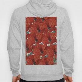 Vintage red orange poppy floral pattern Hoody
