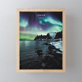Northern Lights over Lenvik, Norway Travel Artwork Framed Mini Art Print