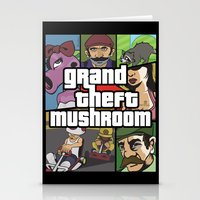 grand theft auto Stationery Cards featuring Grand Theft Mushroom by Ben Clark