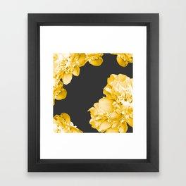 Yellow Flowers On A Dark Background #decor #society #homedecor Framed Art Print