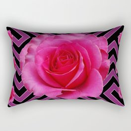 FUCHSIA PINK ROSES ON PUCE-BLACK GRAPHIC Rectangular Pillow