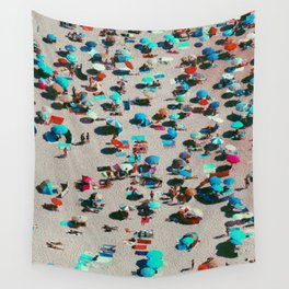 Pastel Beach Umbrellas (Color) Wall Tapestry