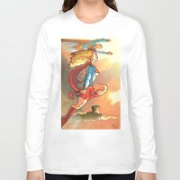 supergirl Long Sleeve T-shirts featuring Super Family - Superman SuperGirl and SuperBoy by Brian Hollins art