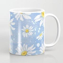 Spring Daisies On Sky Blue Watercolour Coffee Mug