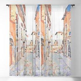 L'Aquila: glimpse city Sheer Curtain