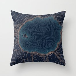 Crater Lake Topo Throw Pillow
