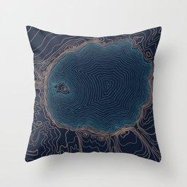 Crater Lake Topo Throw Pillow