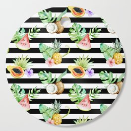 Tropical Fruits Black White Stripes Cutting Board