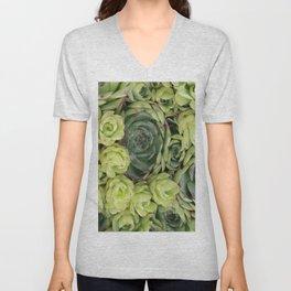 Mint green botanical succulent floral cactus Unisex V-Neck