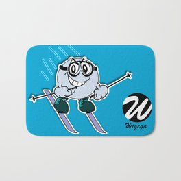 Snow Skier Cartoon Character with Goggles Bath Mat