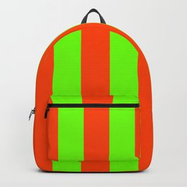 Bright Neon Green and Orange Vertical Cabana Tent Stripes Backpack