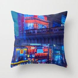 Tokyo Nights / Anime Town / Liam Wong Throw Pillow