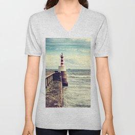 Amble Pier Lighthouse Unisex V-Neck