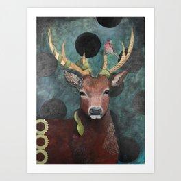 Finch Deer and Snake Art Print