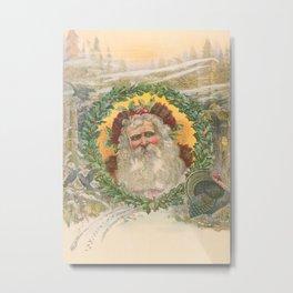 Vintage Santa Claus Illustration, 1800s Metal Print
