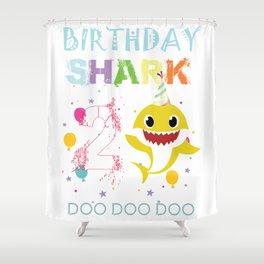 2nd birthday shark doo doo doo doo doo Shower Curtain