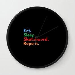 Eat. Sleep. Skateboard. Repeat. Wall Clock