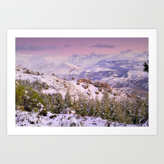 Sierra  nevada mountains at pink sunset Art Print
