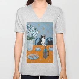 Cats and a French Press Unisex V-Neck