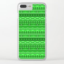 Modern Native Navajo Ethnic Tribal - Vibrant Green Color Clear iPhone Case