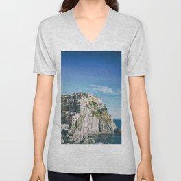 Manarola, Cinque Terre in Italy Unisex V-Neck