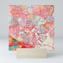 Santa Ana map California painting Mini Art Print