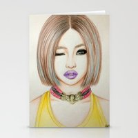 2ne1 Stationery Cards featuring Minzy Gong (2NE1) by Hileeery