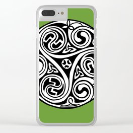 Celtic Art - Triskele - on Green Clear iPhone Case