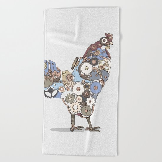 Chicken Alarm Beach Towel