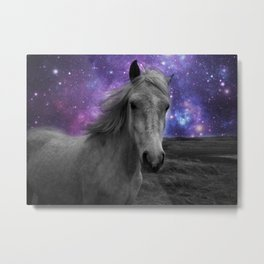 Horse Rides & Galaxy skies muted Metal Print